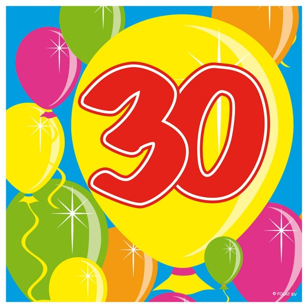 20 Spectacular 30th Birthday Napkins 25cm
