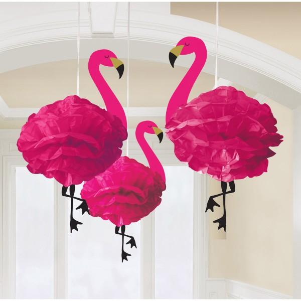 3 Fluffige Flamingo Pompons 51cm