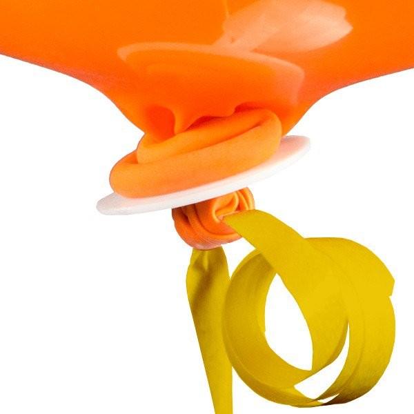 10 żółtych zamknięć do balonów ze wstążką