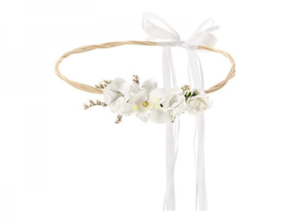 Weißer Boho Blumenkranz 18cm