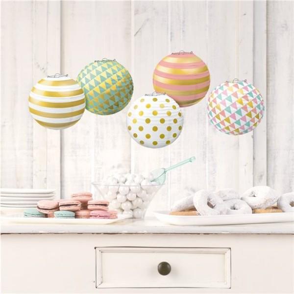 5 small paper lanterns pastel metallic