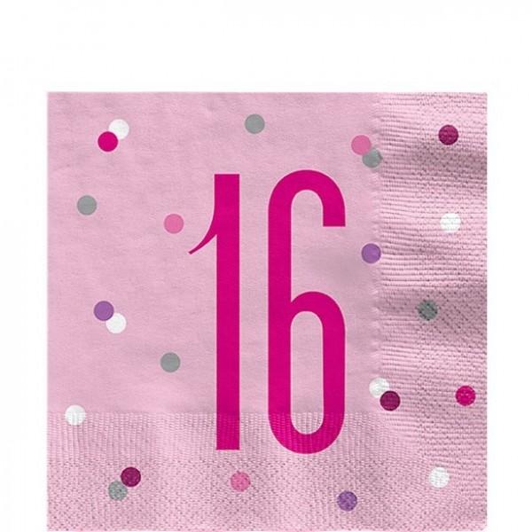 16. Geburtstag 16 Servietten 33x33cm