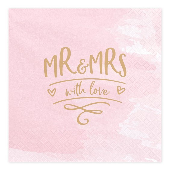20 Mr & Mrs with love Servietten 33cm
