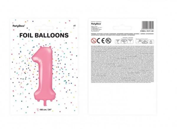 Ballon aluminium numéro 1 rose 86cm