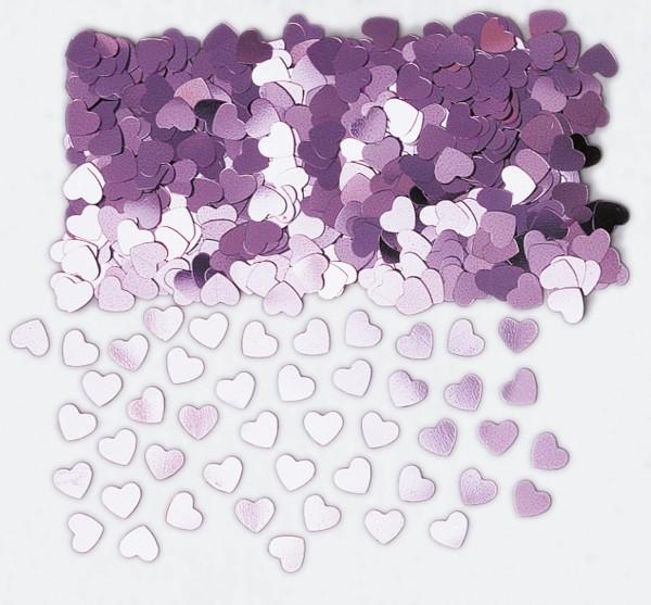 Liebesglück heart sprinkle decoration lilac metallic 14g