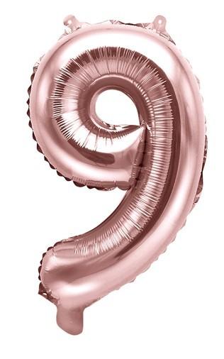 Metallic Zahlenballon 9 roségold 35cm