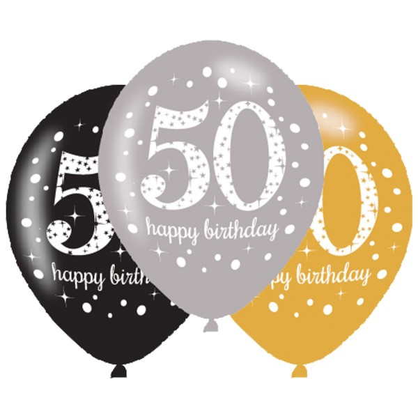6 Golden 50th Birthday Ballons 27,5cm
