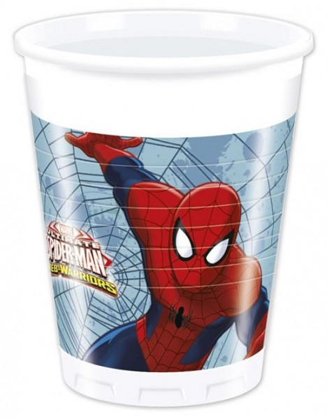 8 gobelets Spiderman Web Warriors 200 ml