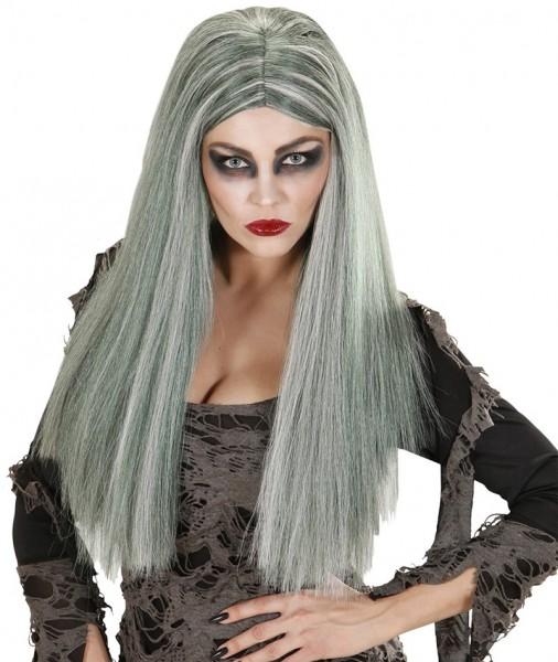 Perruque droite cheveux longs gris