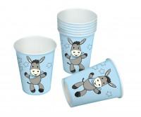 8 Papp-Becher Sweet Donkey blau 0,2l