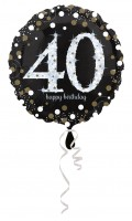 Golden 40th Birthday Folienballon 43cm