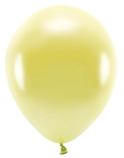 100 Eco metallic balloons lemon yellow 26cm