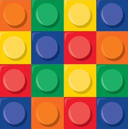 16 kleurrijke bouwsteen servetten 33cm