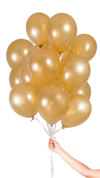 30 golden balloons with ribbon 23cm