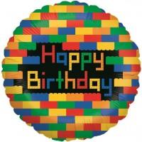 Bloc de construction Ballon aluminium joyeux anniversaire 46cm