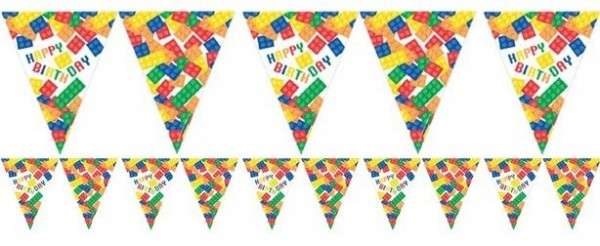 Colorful building block birthday pennant chain 3.7m