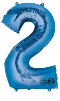 Zahlenballon 2 Blau 88cm