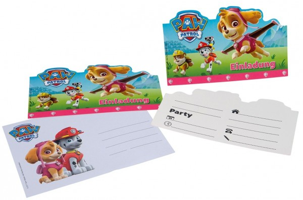 6 Invitations d'amis Paw Patrol Skye avec enveloppe