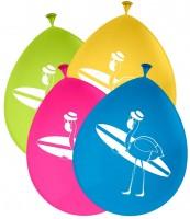 8 Surfer Flamingo Ballons 30cm