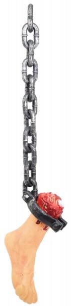 Chaîne de torture avec pied haché Décoration d'Halloween 45cm