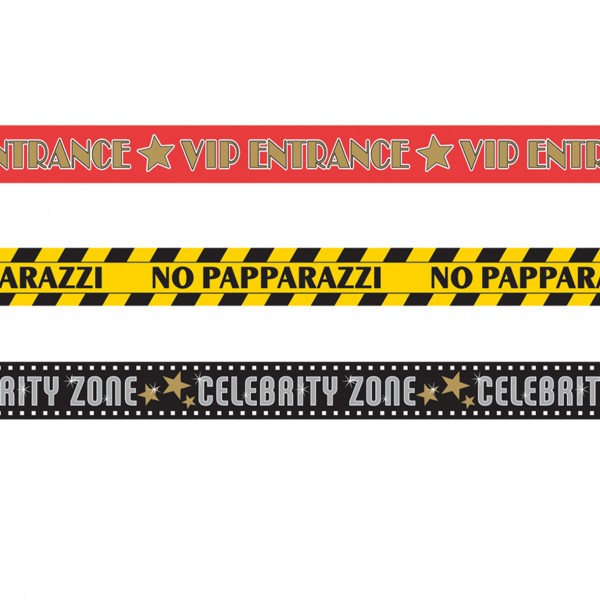 Hollywood Party Absperrband 9m Celebrity Zone 3-Teilig