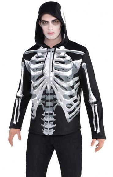 Skelett Kapuzen Shirt für Herren