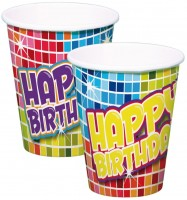 6 Grioovy Happy Birthday Becher 250ml