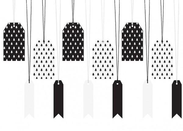 12 etiquetas de regalo de Navidad en blanco y negro