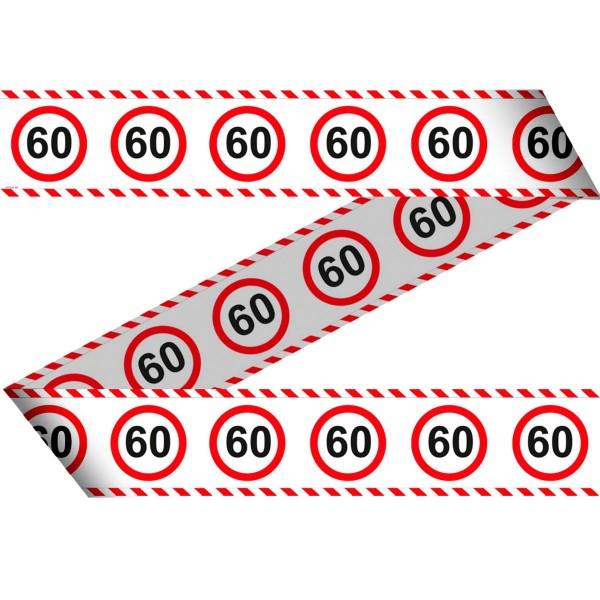 Absperrband zum 60. Geburtstag Verkehrsschild 15m