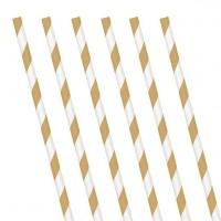 24 Gold-Weiß gestreifte Papier Trinkhalme 19 cm