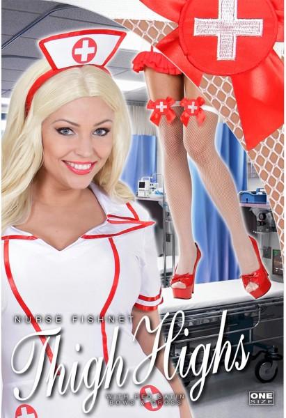 Weiße Krankenschwester Netzstrümpfe Overknees