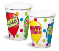 6 Funny Birthday Becher 250ml