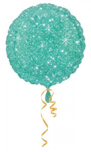 10 Edle Glitzer Diamant Folienballons in Türkis