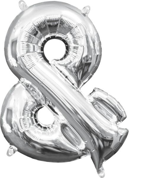 Mini foil balloon symbol & silver 35cm