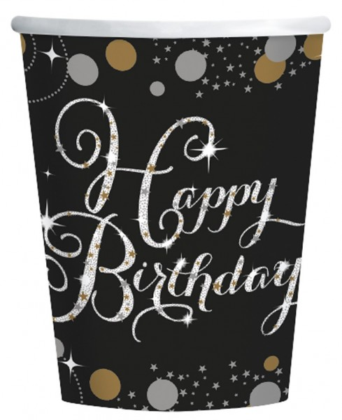 8 Golden Happy Birthday cups 266ml
