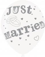 6 Just Married Luftballons 27,5cm