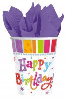 8 Colourful Birthday Pappbecher 266ml