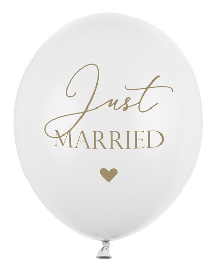 50 palloncini Just Married bianco 30cm