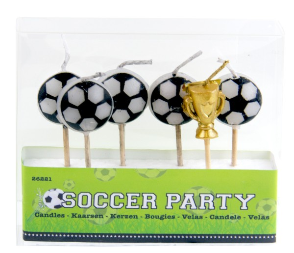 6-piece soccer party candle set