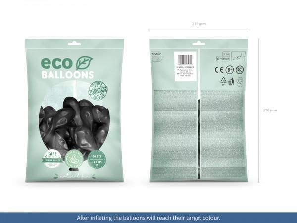 100 Eco metallic Ballons schwarz 26cm