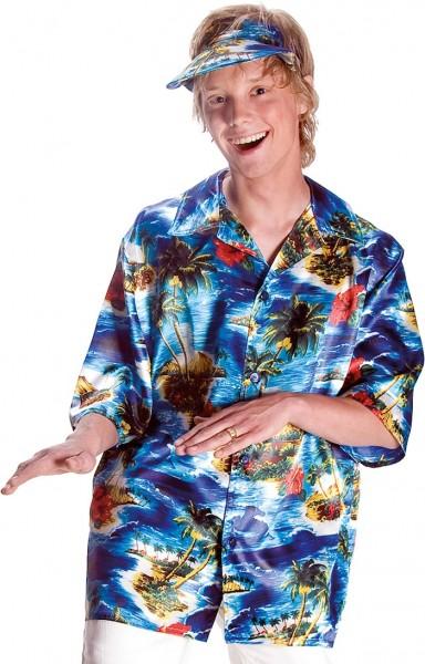 Hawajska koszula plażowa palmowa z czapką z daszkiem
