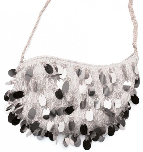 Funkelnde Pailletten Handtasche Silber
