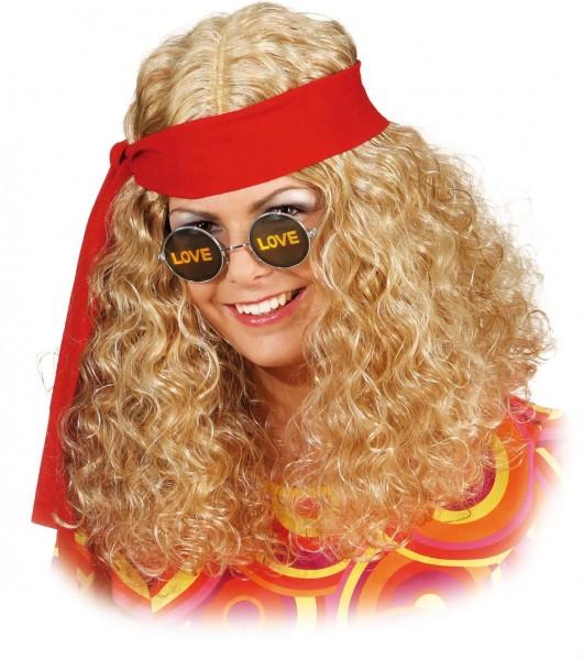 Perruque hippie blonde avec ruban pour femme