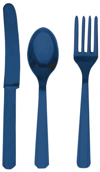 24 pcs. Partytime cutlery set dark blue