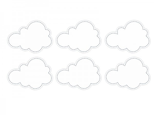 6 etiquetas en forma de nube