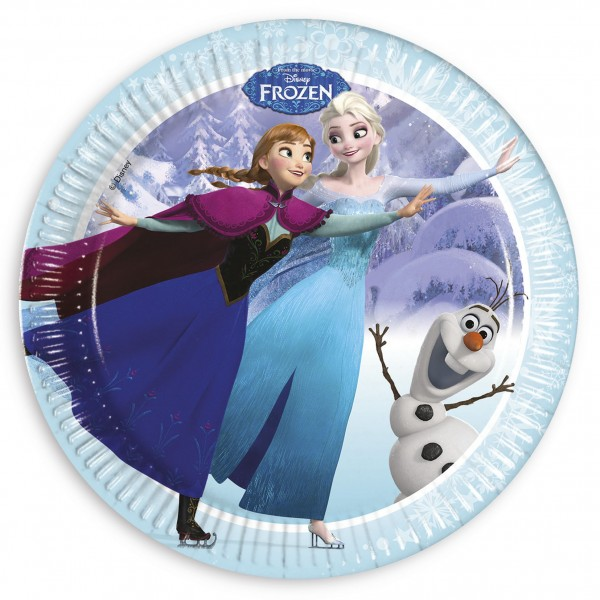 8 Frozen Winterwald Pappteller 23cm