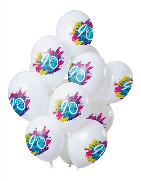 90.Geburtstag 12 Latexballons Color Splash