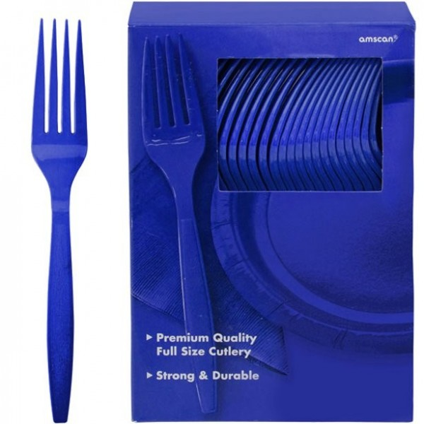 100 royal blue plastic forks Glory 20cm