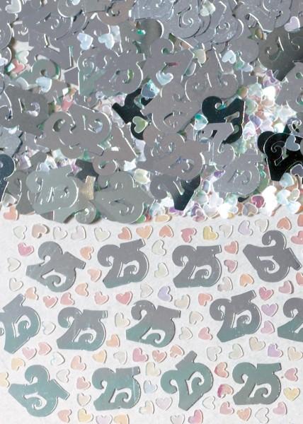 Décoration Sprinkle Argent numéro 25 avec coeurs 14g