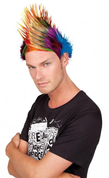 Regenboog mohawk punk pruik